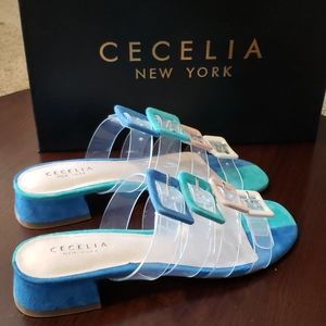 Cecelia New York Lincoln Sandals sz 6 B Pool Blue